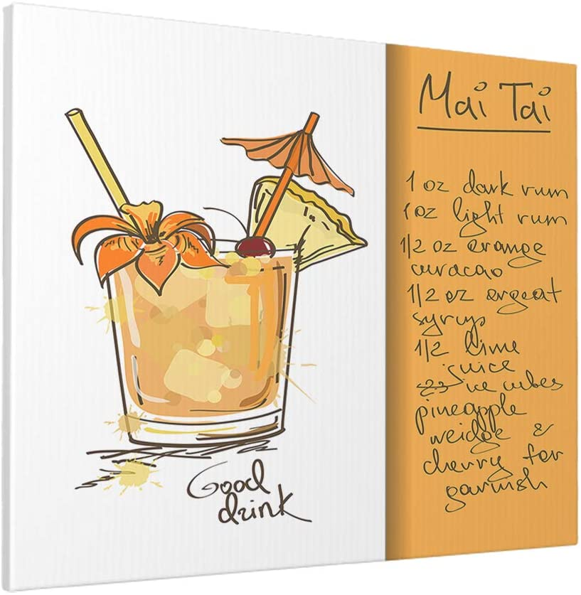 AOYEGO Cocktail Canvas Wall Art Beer Mai Tai Drinks Floral Umbrella Glasses Ice Liquor Alcohol Wall Art Unframed Prints Modern 40X50 CM Decoration Ready To Hang for Livingroom Orange