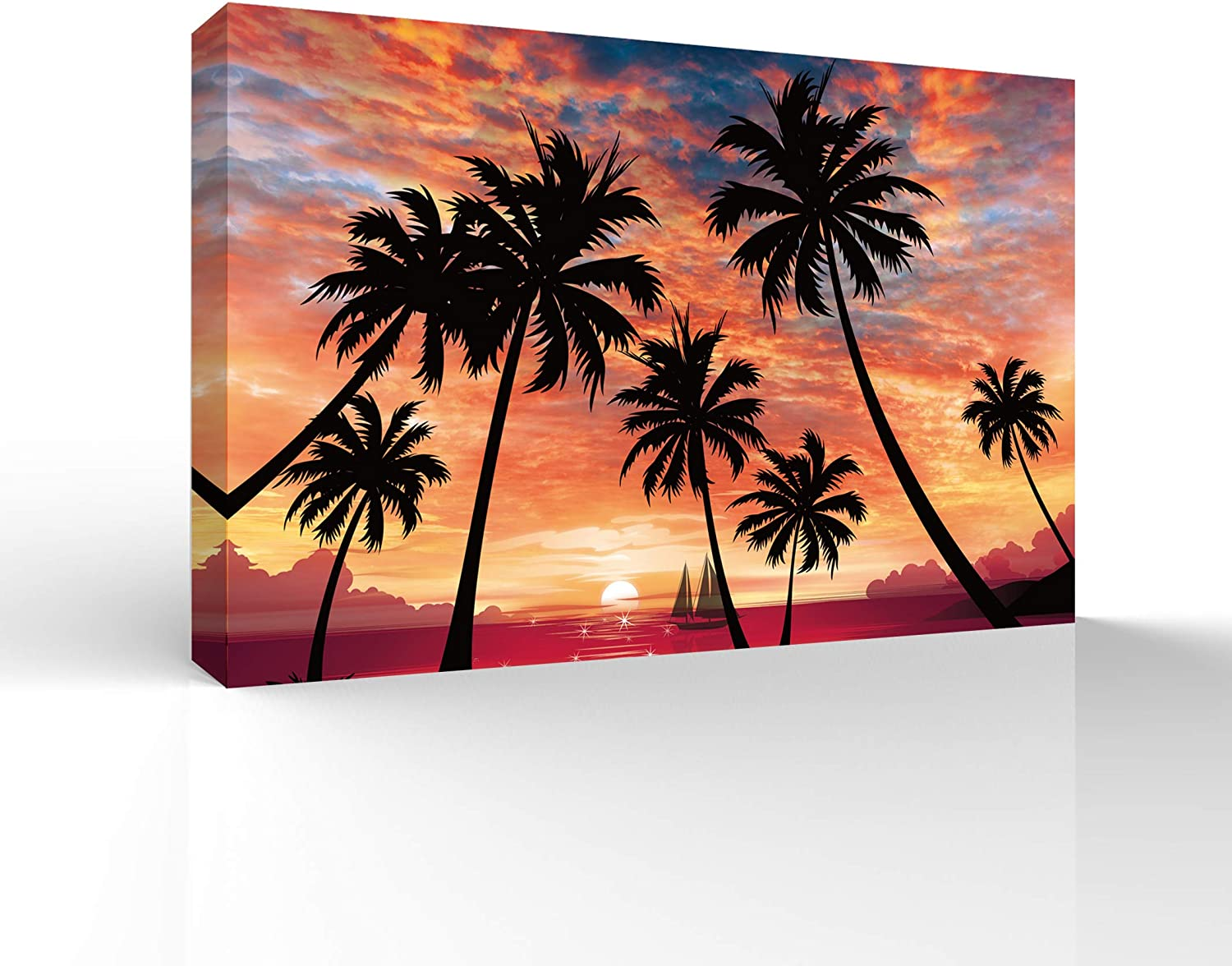 signwin Canvas Wall Art The Palms Under The Sunset Canvas Prints Home Artwork Decoration for Living Room,Bedroom - 12x18 inches
