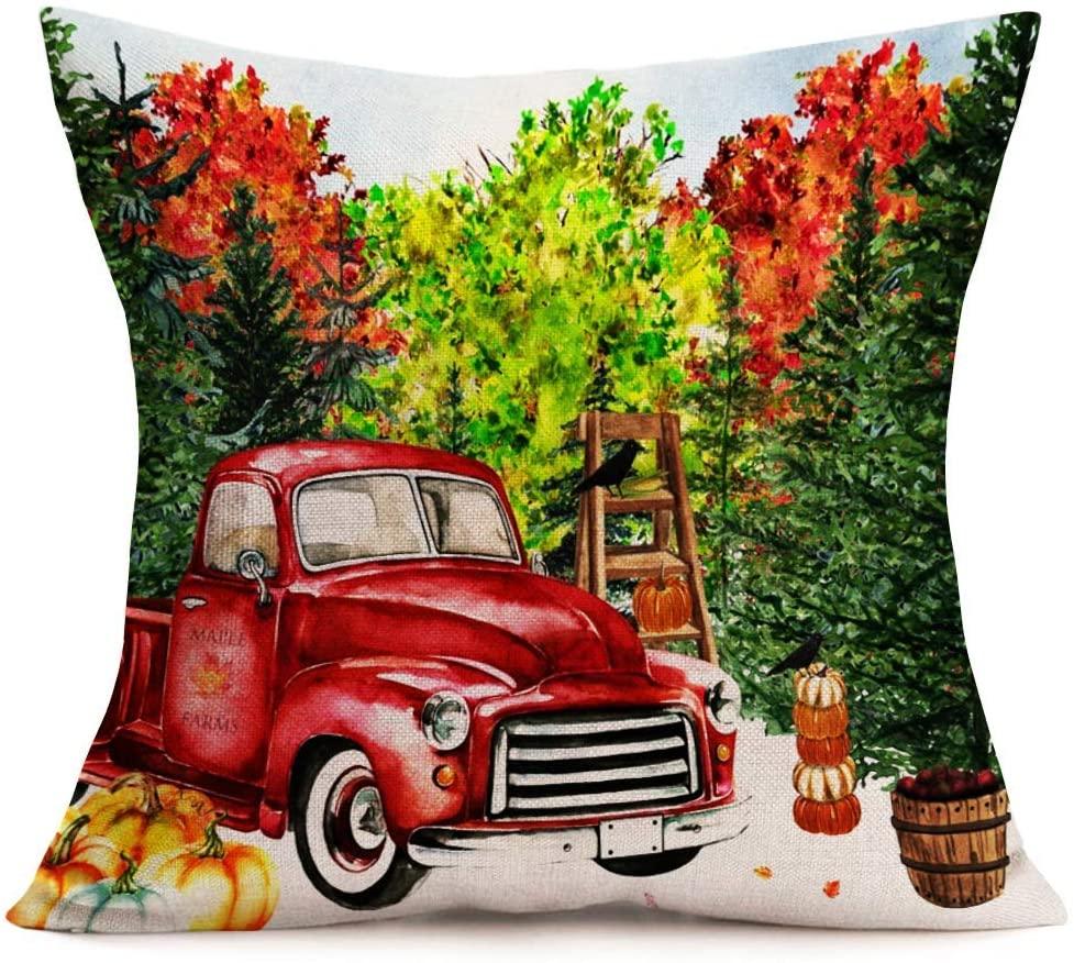 ~ Oil Painting Fall Farmhouse Decor Pillow Cover Retro Red Farm Truck Pickup Pumpkin Trees Crow Throw Pillow Cases Autumn Harvest Thanksgiving Decorative Cotton Linen 18x18 Inch Cushion Cover