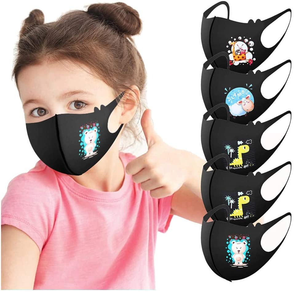 [US Stock] 5pcs Masks for Kids Child for Protection Cloth Fabric Face Mask Breathable Mouth Cover Reusable Washable with Cute Pattern by MASZONE