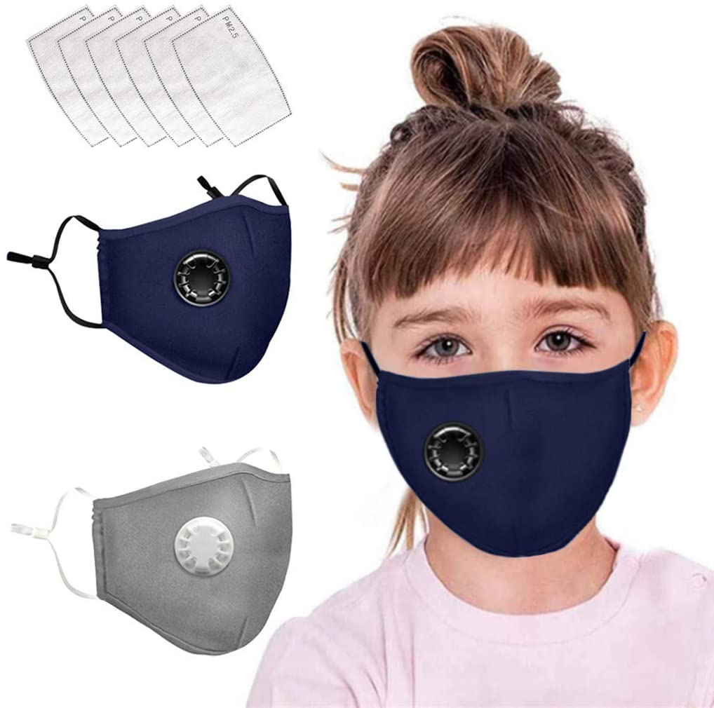 2PCS Kids Masks, Washable Reusable Cotton Mouth Covers Children Breathing Valve Cover Protection from Pollen,Dust,Pet Dander for Running, Cycling, Outdoor Activities with 6Pcs Activated Carbon