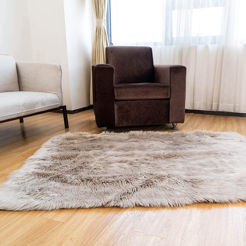 Super Area Rugs Soft Faux Sheepskin Fur Fluffy Area Rug, Light Brown / Beige, 3' x 5'