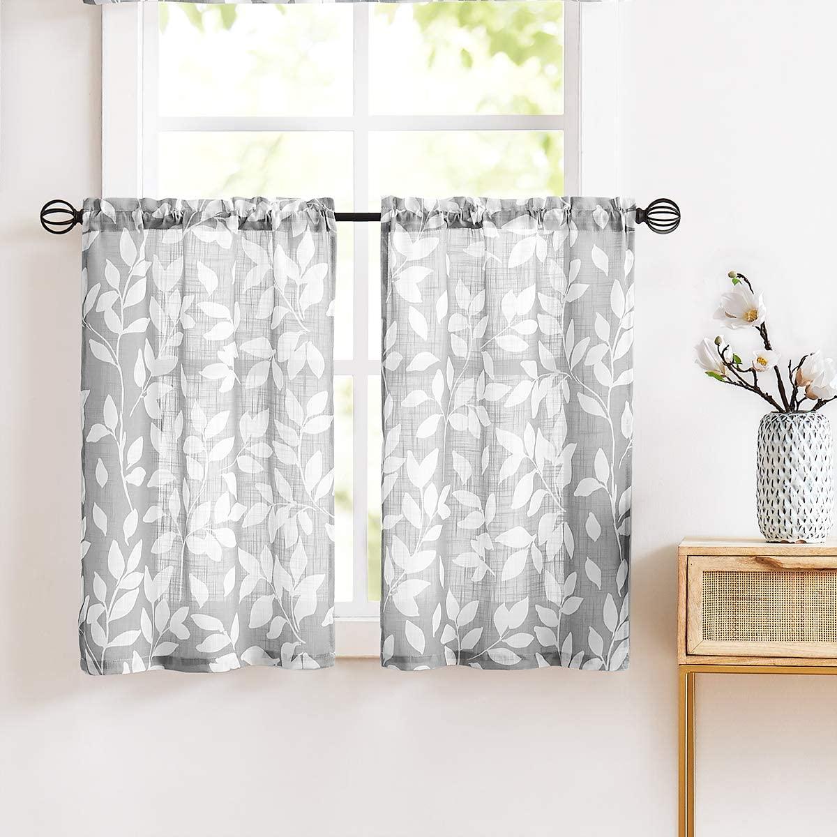Treatmentex Grey Tier Curtains 24 Kitchen Curtain Set Leaf Print Small Window Curtains for Basement 2 Panels