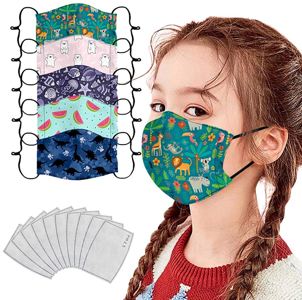 MASZONE [US Stock] Kids Reusable Face Mask with Filter Washable Cute Print Cloth Face Masks Breathable Adjustable