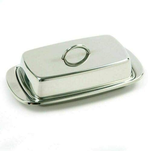 Durable Stainless Steel Double Wide Butter Dish Storage Container w/Lid