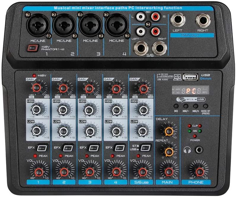 LiFuJunDong 6 Channel Audio Mixer Mixing Console Bluetooth Dj Mic Audio Mixer Contrl Led Digital Display Music Stream
