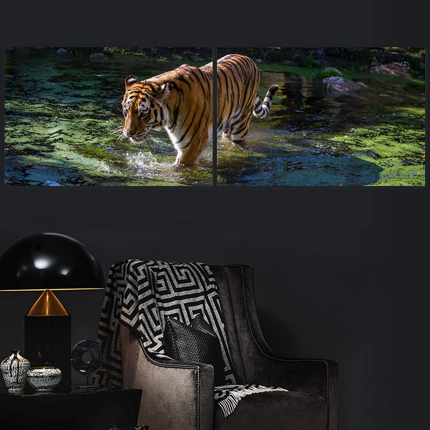 Color-Banner 2 Pieces Canvas Wall Art Proud Tiger Modern Home Arts as Decorations for Bedroom, Living Room - 16x24 x 2 Panels