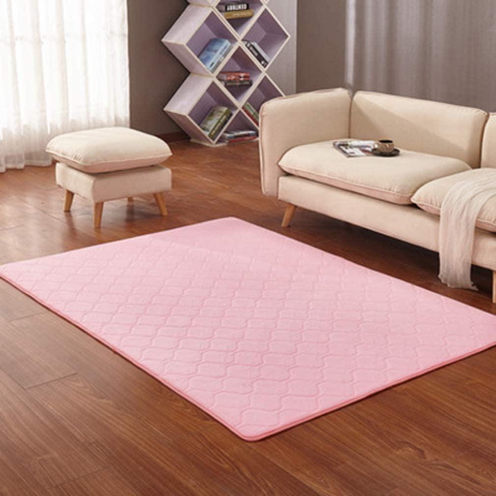 Solid Rectangular Area Rugs Soft Living Room Children Bedroom Rug Geometric Grid Fleece Anti-Slip Carpets Home Decor Modern Indoor Outdoor Runners Nursery Pink 2.6' X 5.2'