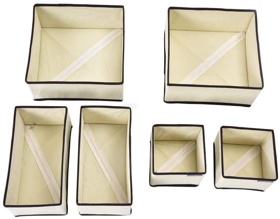 Pokerty Sock Storage, 6PCS / Set Underwear Storage Box Closet Organizer for Bra Ties Socks Underwear Cabinet Drawer Organizer(Beige)