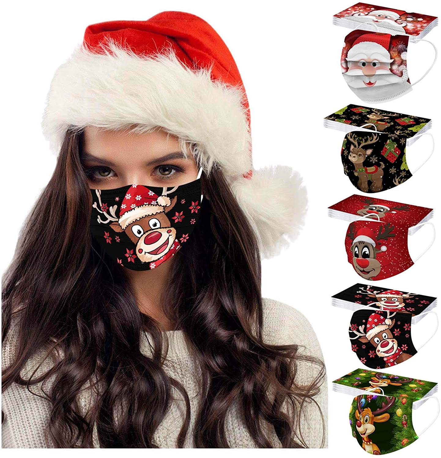 50Pcs Christmas Themed Disposable with Elastic Earloops for Adults,Multiple Pattern Combinations 3-ply for Party,High Filtration and Ventilation (B, 5x10pcs)