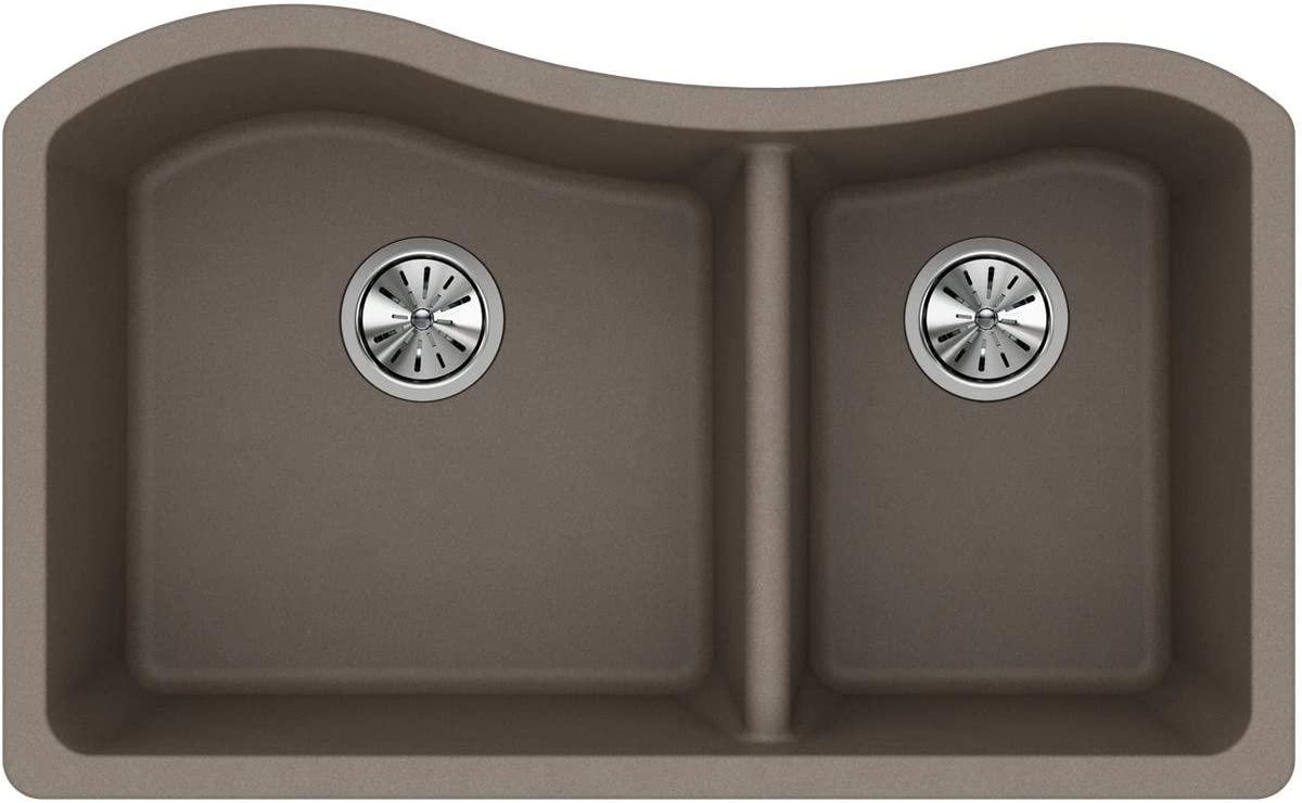 Elkay Quartz Classic ELGHU3220RGR0 Greige 60/40 Double Bowl Undermount Sink