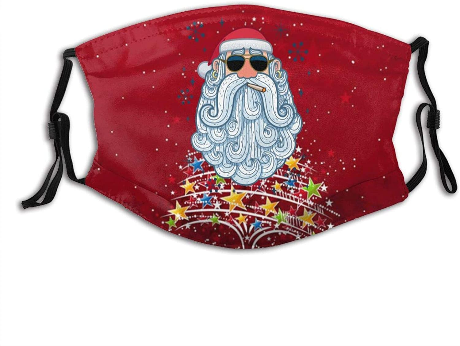 Red Santa Claus Flower Print Mask Breathable Reusable with 2 Filter for Adult Women Men & Teenager Festival