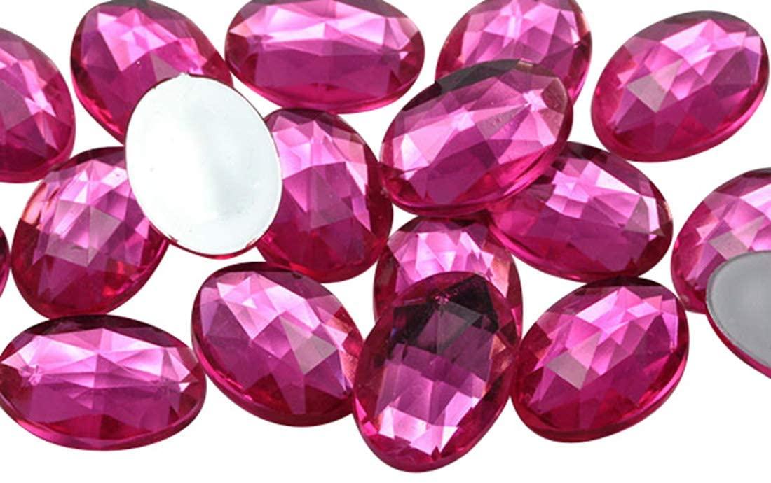 KraftGenius 8x6mm Pink Hot A20 Flat Back Oval Tiny Acrylic Rhinestones Plastic Gems Plastic Costume Jewels Embelishments - 100 Pieces