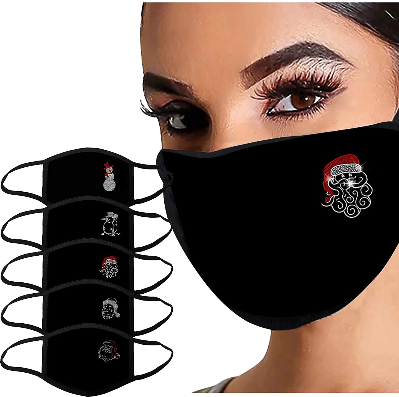 5PC Sparkly Christmas Face_Mask for Women Bling Rhinestone Diamond Print Reusable Washable Cloth Face Bandana Protection