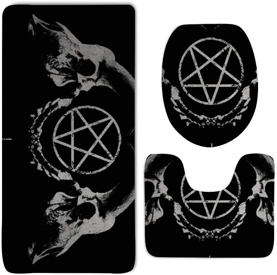 NiYoung Gothic Occult Satan Penta Symbol Skull Bath Mats - 3 Pack Memory Foam Non Skid Bathroom Rug/Large U-Shaped Bath Mats/Lid Cover Quick Dry Super Absorbent Toilet Floor Rug/Machine-Washable