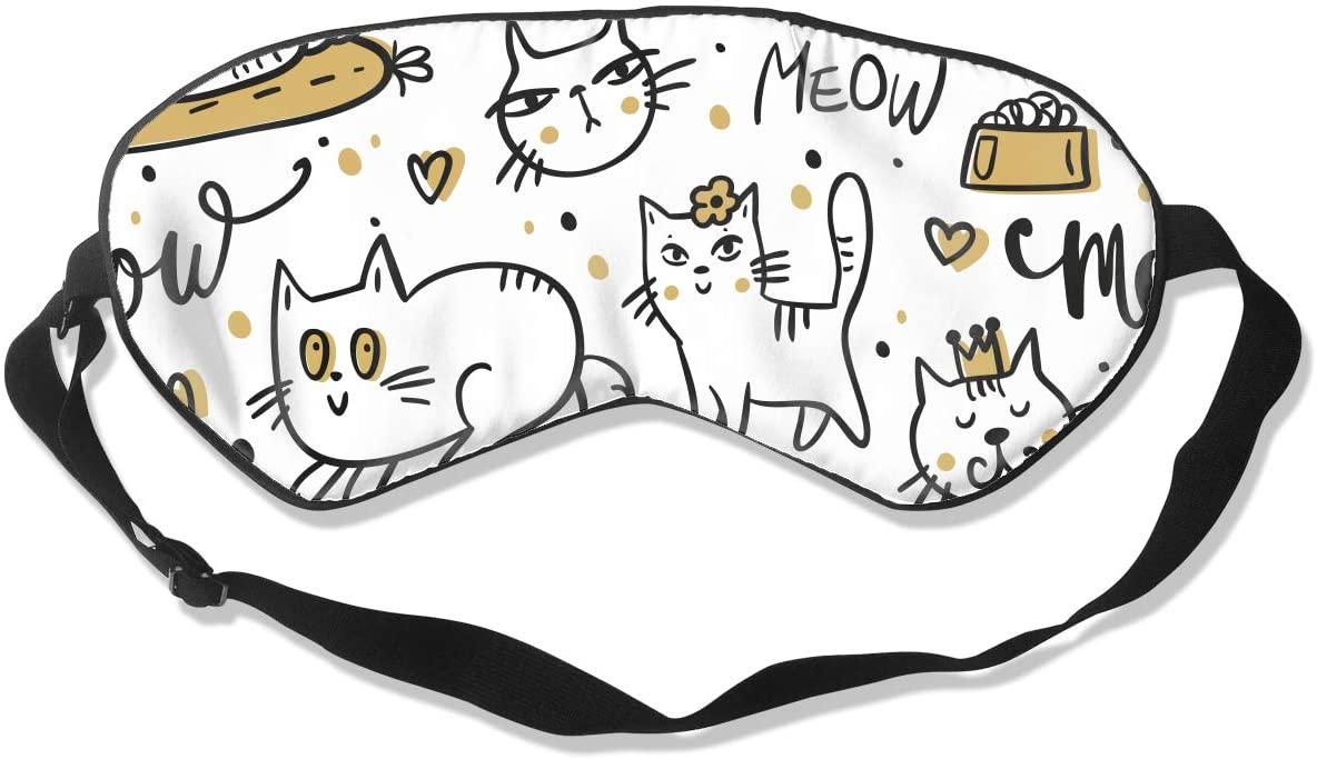 O-X_X-O Cute Kitty Meow Cat Sleep Mask Adjustable Sleep Eye Mask Lightweight and Comfortable Eye Cover Blindfold Eyeshade for Sleeping Travel Shift Work Naps Meditation & Night
