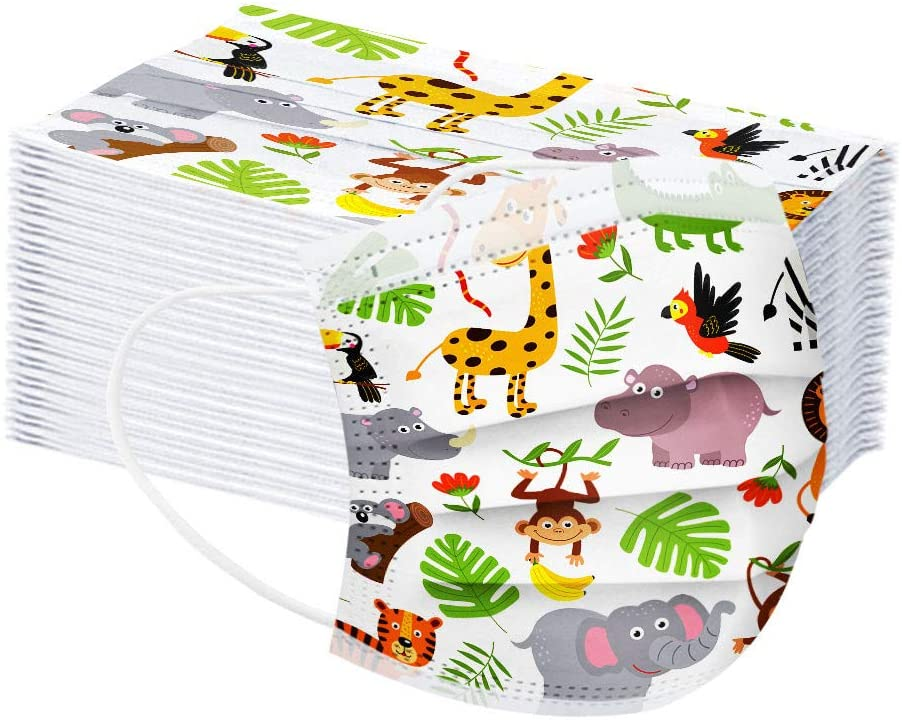 【US in Stock】Kids Disposable Face Masks,50pcs Child Face Covering Cute Printed Breathable 3Ply Face Mask for School Use