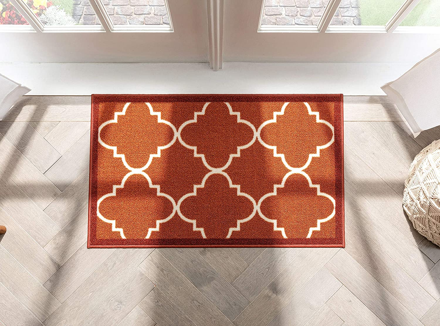 Well Woven Non-Skid Slip Rubber Back Antibacterial 2x3 (2' x 3') Dallas Moroccan Trellis Rust Red Modern Geometric Lattice Thin Low Pile Machine Washable Indoor Outdoor Kitchen Entry
