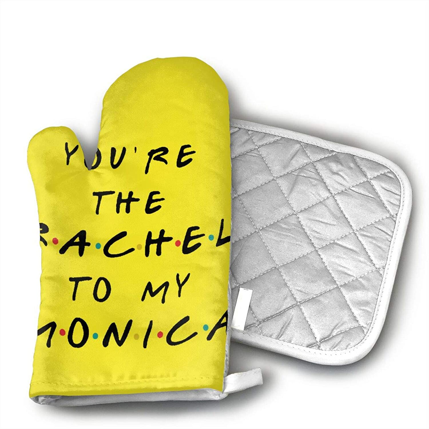 antcreptson You are The Rachel to My Monica Set of Oven Mitt and Pot Holder Non Slip Oven Gloves Heat Resistant Hot Plate