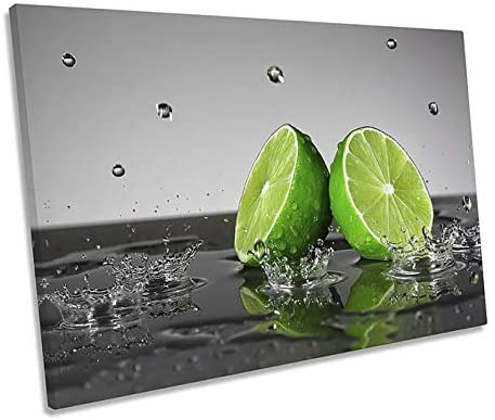 ZMKDLL Unframed Canvas Wall Art Lime Green Fruit Splash for Living Room, Bedroom Home Artwork 16x12 inches
