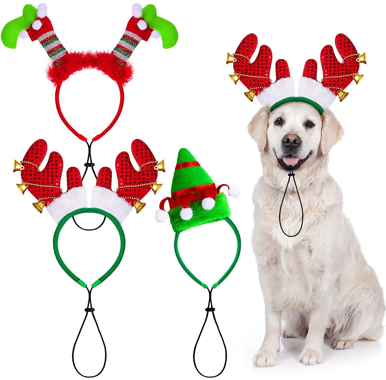 Aneco 3 Pack Christmas Puppy Dog Headband Elf Costume Headwear Reindeer Dog Headband for Dog Puppy Cat