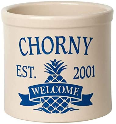 Whitehall 2558DB Personalized Pineapple 2 Gallon Stoneware Crock with Ceramic Material in Blue Color 9.75