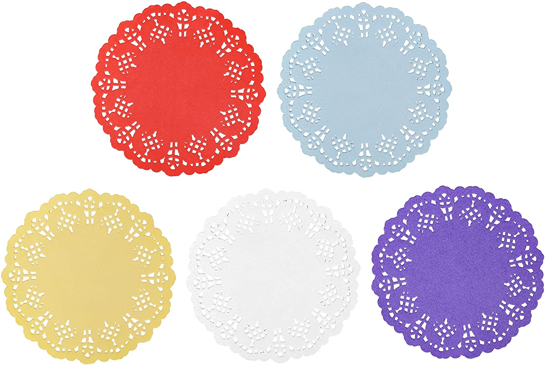 Paper Doilies, Jagrove 100 Pieces 5.5 Inches Lace Doilies Paper Colorful Decorative Round Paper Placemats Bulk for Cakes Desserts Wedding Party Tableware Decoration, 5 Colors