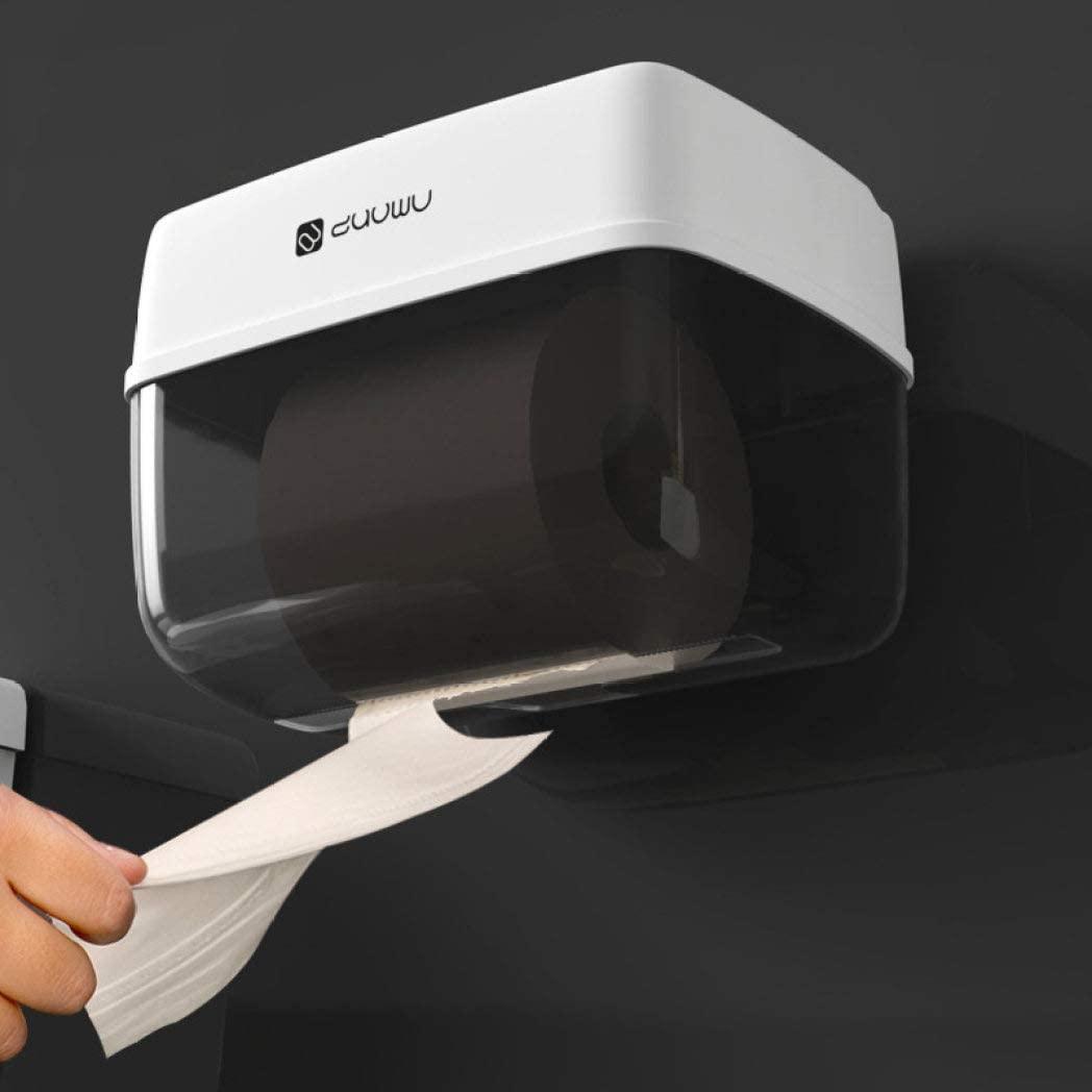 UKURO Toilet Paper Dispenser Viewable Shutter Multi-Functional Organizer Wall Mount for Bathroom, Kitchen Toilet Tissue Holder Box