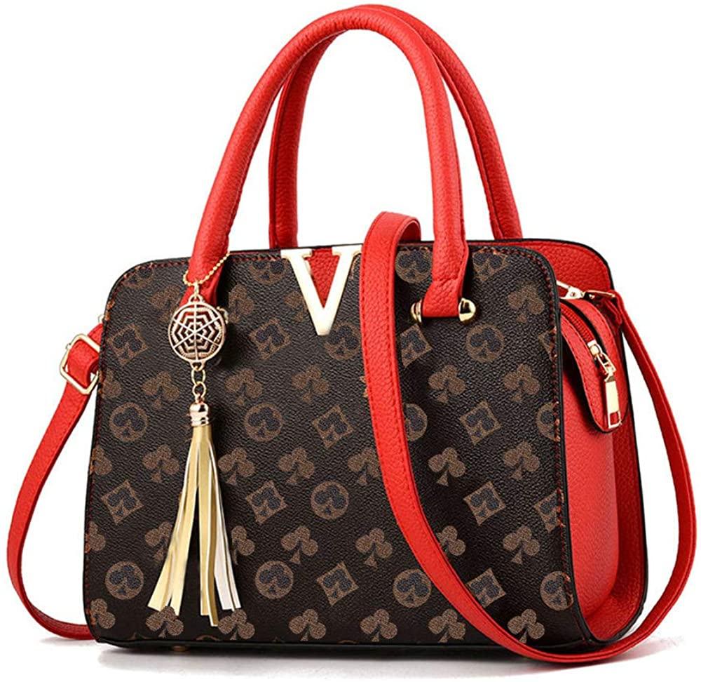Women's Fashion Handbags PU Leather Tote Shoulder Bag Big Capacity Crossbody Bag