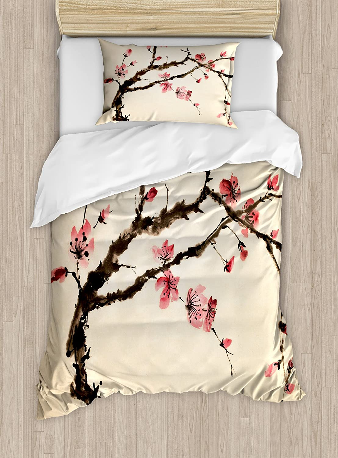 Ambesonne Japanese Duvet Cover Set, Traditional Chinese Paint of Figural Tree with Details Brushstroke Effects Print, Decorative 2 Piece Bedding Set with 1 Pillow Sham, Twin Size, Brown Pink
