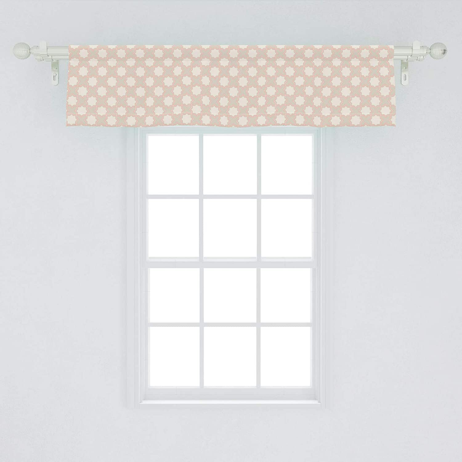 Lunarable Orient Window Valance, Illustration of Repetitive Oriental Star Like Ornament in Beige Tones, Curtain Valance for Kitchen Bedroom Decor with Rod Pocket, 54