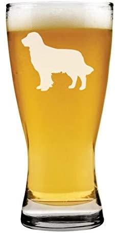 15 oz Beer Pilsner Glass Golden Retriever
