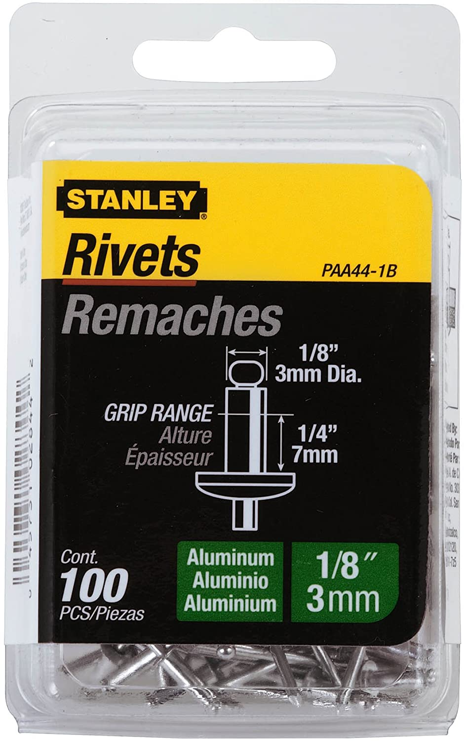 Stanley Paa44-1B 1/8 Inch X 1/4 Inch Aluminum Rivets,Pack of 100(Pack of 100)