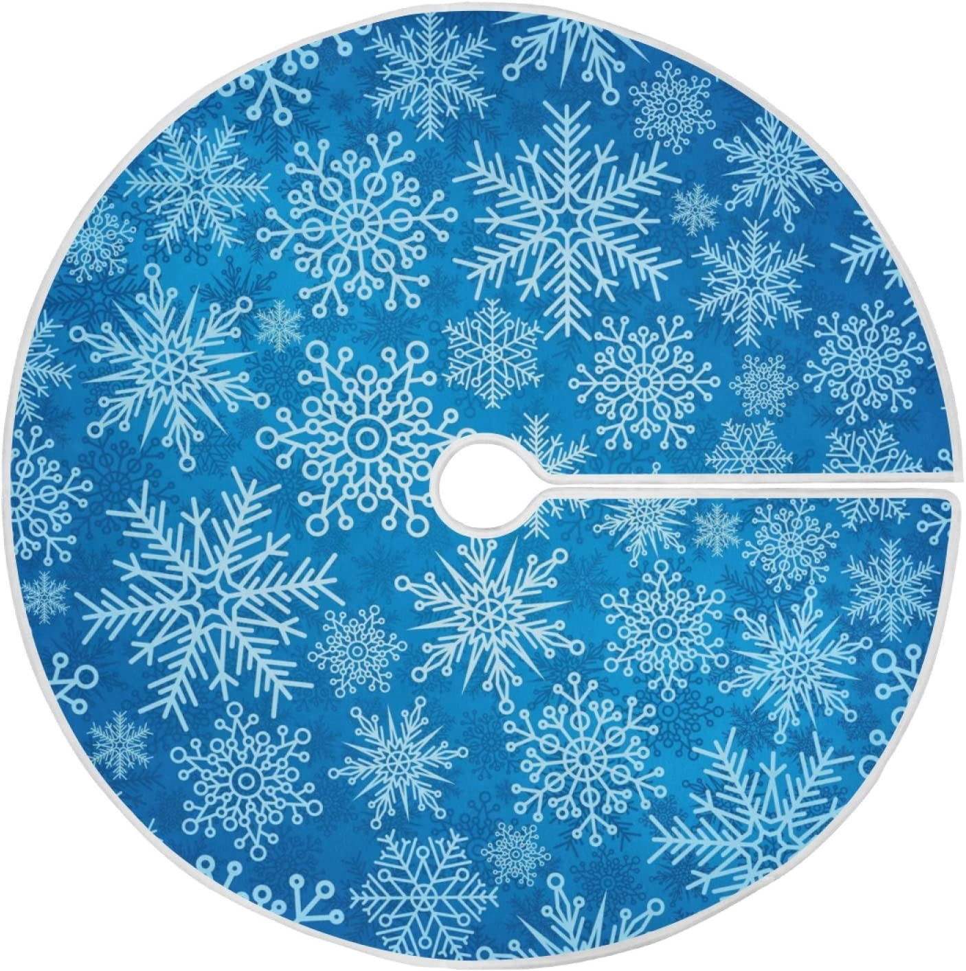 ALAZA Christmas Tree Skirt Decoration,Small Mini Tree Skirt Ornament 35.4 Inch with Winter Snowflakes for Christmas Party Holiday Home Decorations
