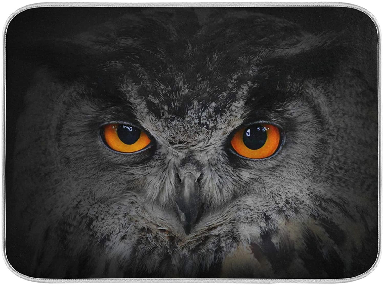 Oarenol Owl Eyes Animal Dish Drying Mat Absorbent Kitchen Countertop Mat 16 x 18 Inch