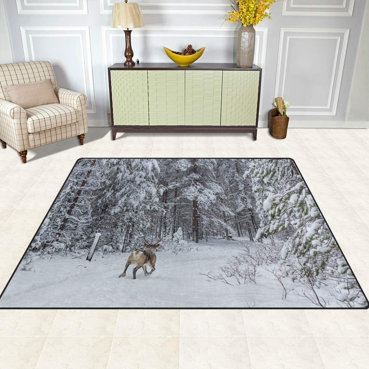 Christmas Rugs 5x4 for Living Room, Large Holiday Area Rugs Mats for Bedroom Winter Forest Deer