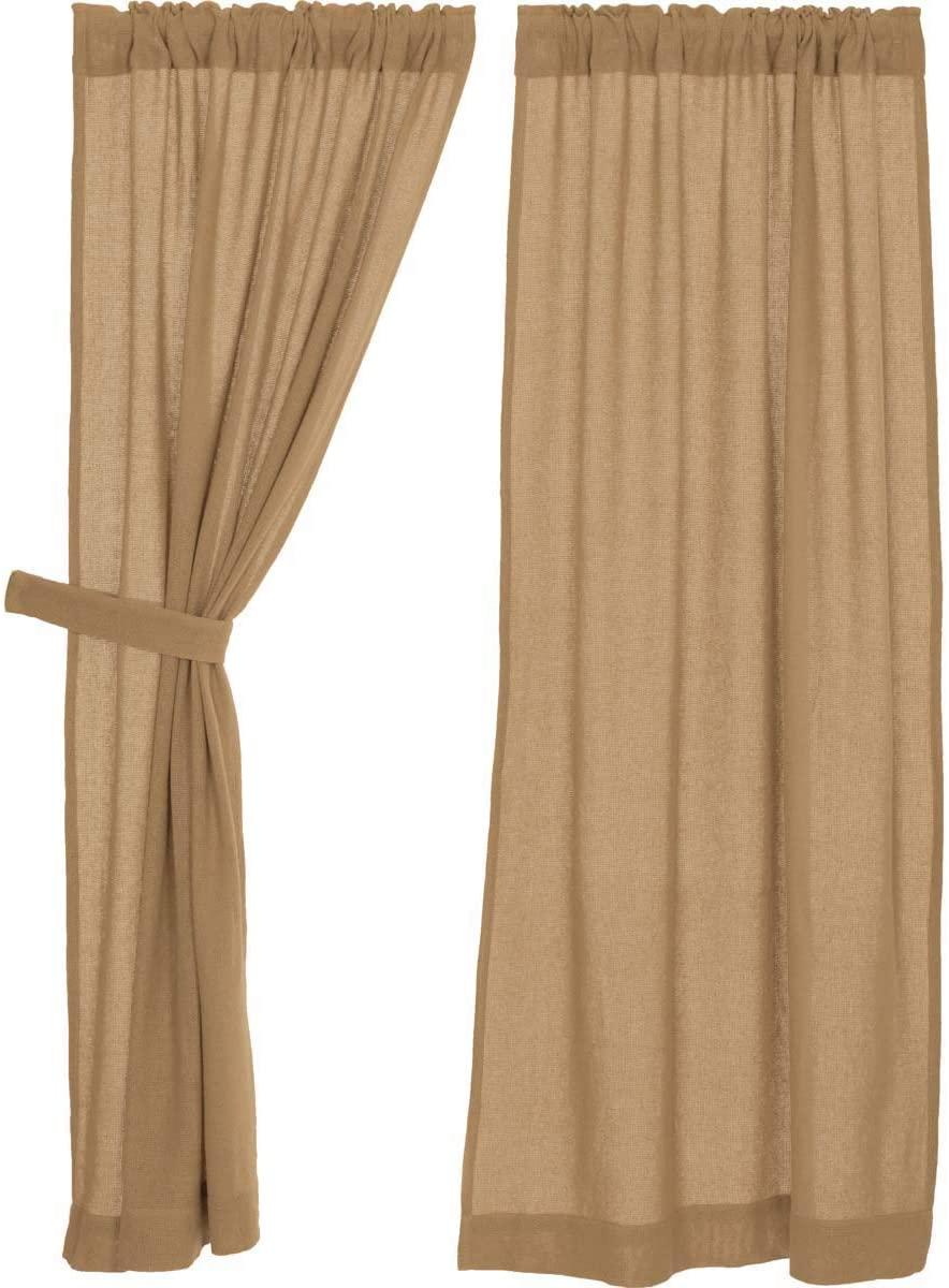 VHC Brands Burlap Natural Curtain, Panel Set 63x36, Tan