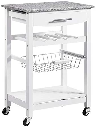 Riverbay Furniture Granite Top Kitchen Island Microwave Cart on Wheels with Storage in White