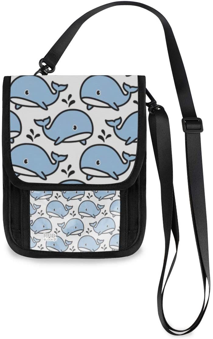 ALAZA Cartoon Whale Dolphin Animal Print Small Crossbody Wallet Purse Cell Phone Bag Rfid Passport Holder with Credit Card Slots