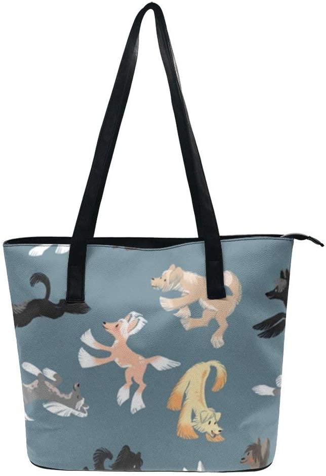 NiYoung Women Fashion Tote Bag, Lightweight Waterproof Handbag Shoulder Bag Large Capacity Bag for Business School Travel (Chinese Crested)