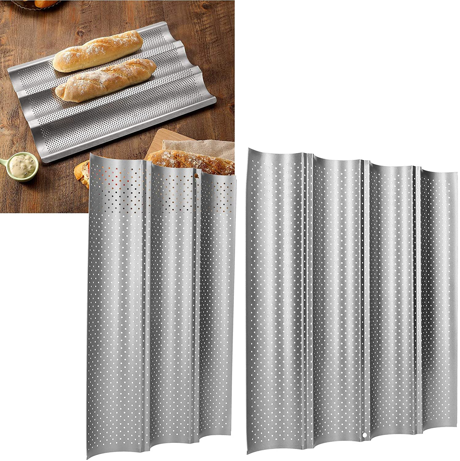French Bread Baking Pan,Non‑Stick Multi‑Grooves Waves French Bread Pan Baguette Baking Cooking Tray Mold Kitchen Tool Cooking Bakers Molding for French Bread Baking(3)