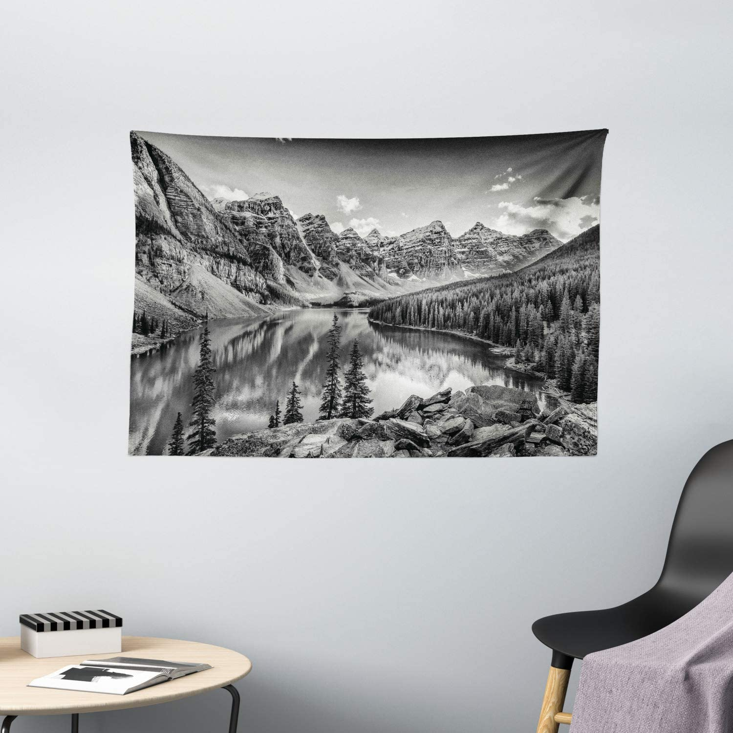 Ambesonne Black and White Tapestry, Mountain Creek Lake by The Hills Canadian Rocky Valley Peaceful Landscape Print, Wide Wall Hanging for Bedroom Living Room Dorm, 60