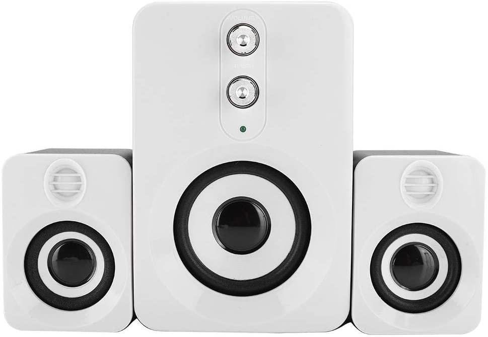 zhuolong Mini PC Speakers USB FT-10 Diaphragm 2.1 Multi-Media Subwoofer Speaker for Desktop Computer(典雅白)
