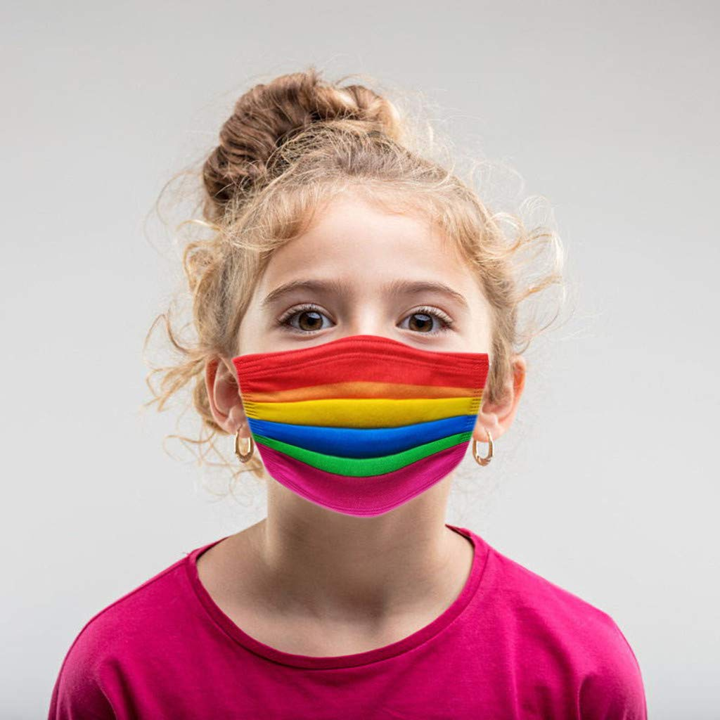 【USA In Stock 】50PCS Children Kids Rainbow Print Face Bandana_Covering_MASK Three Layer Mouth Face Protection for Kid's Outdoor, Fashion Boys Girls Outdoor Breathable Sunscreen Face Fabric For Cycling Camp