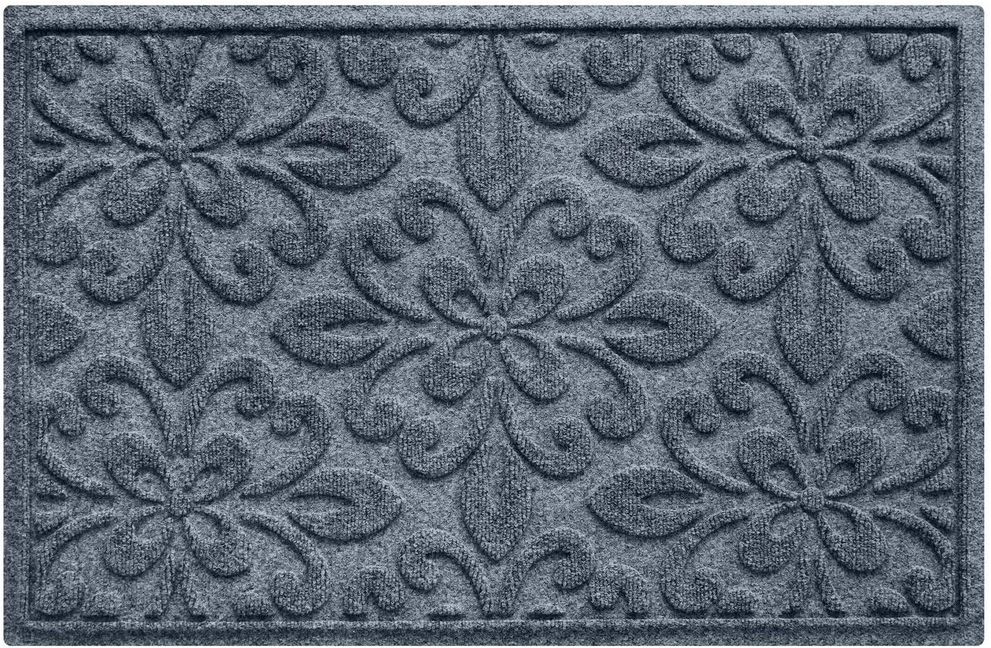 Bungalow Flooring Waterhog Door Mat, 2' x 3' Made in USA, Durable and Decorative Floor Covering, Skid Resistant, Indoor/Outdoor, Water-Trapping, Phoenix Collection, Bluestone