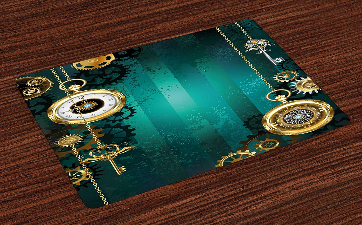 Ambesonne Industrial Place Mats Set of 4, Antique Items Watches Keys and Chains with Steampunk Influences Illustration, Washable Fabric Placemats for Dining Table, Standard Size, Green Gold
