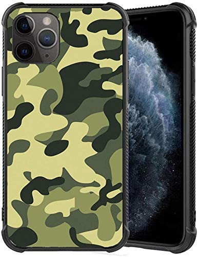 xc Slim fit Black Shockproof Bumper Phone case - Cool Army Camo Camouflage Printing Design - Thin Soft TPU and Tempered Glass Phone Case Protective Cover (for iPhone 11 Pro Max)