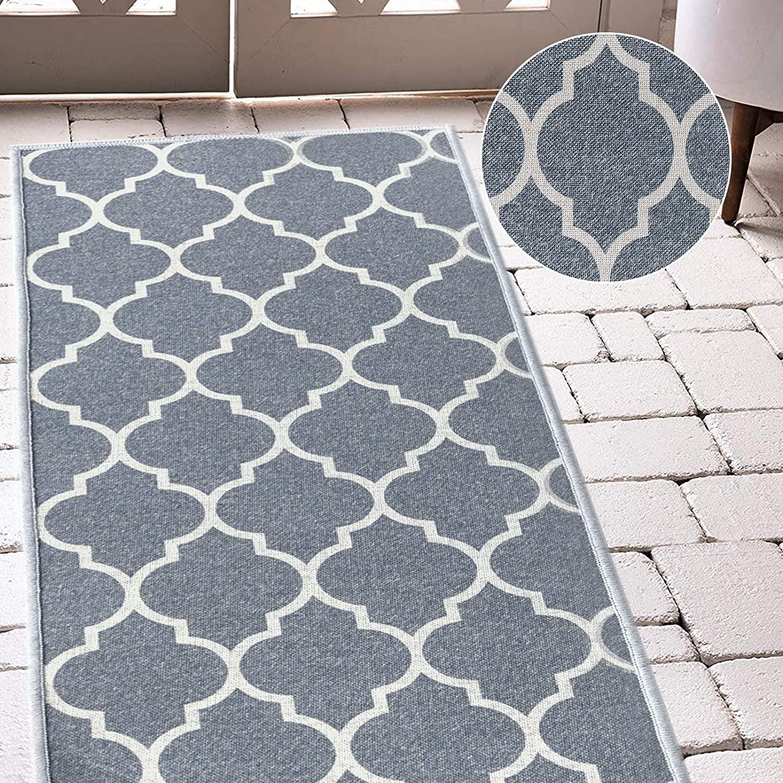 jinchan Runner Rug Trellis Runner Area Rug Floorcover Moroccan Tile Low Pile Indoor Carpet for Dining Room Charcoal Grey 2'2