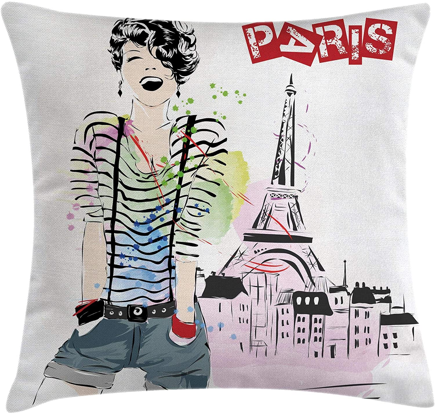 Ambesonne Eiffel Tower Throw Pillow Cushion Cover, Sketch of Laughing Girl in Front of Eiffel Tower Paris Happiness Stain, Decorative Square Accent Pillow Case, 20
