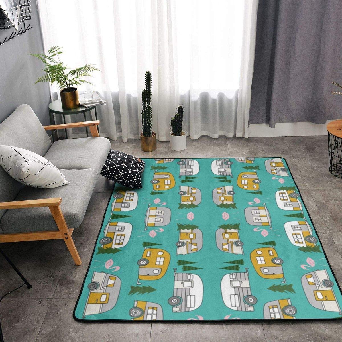 Fluffy Area Rug Modern Shag Rug Pads Fuzzy Nursery Carpet for Kids, Soft Plush Rugs for Living Room Children Bedroom Kitchen Home Decoration,Retro Camper Flamingo,63x48 in